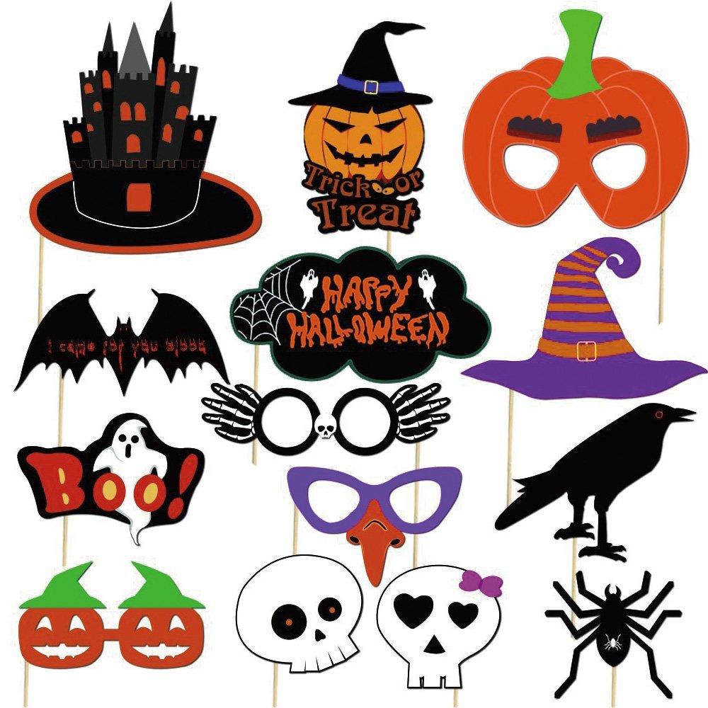 Kuuqa Halloween Photo Booth Props Kit Decoraciones para Fiestas de Halloween Paquete de 38