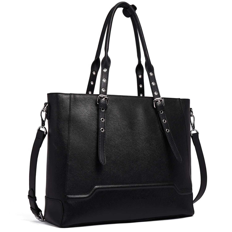 342588de97c6 BOSTANTEN Women Briefcase Leather Laptop Shoulder Handbag Fit Up to 15.6  inch Tote Work Purses Cross-Body Bag Black