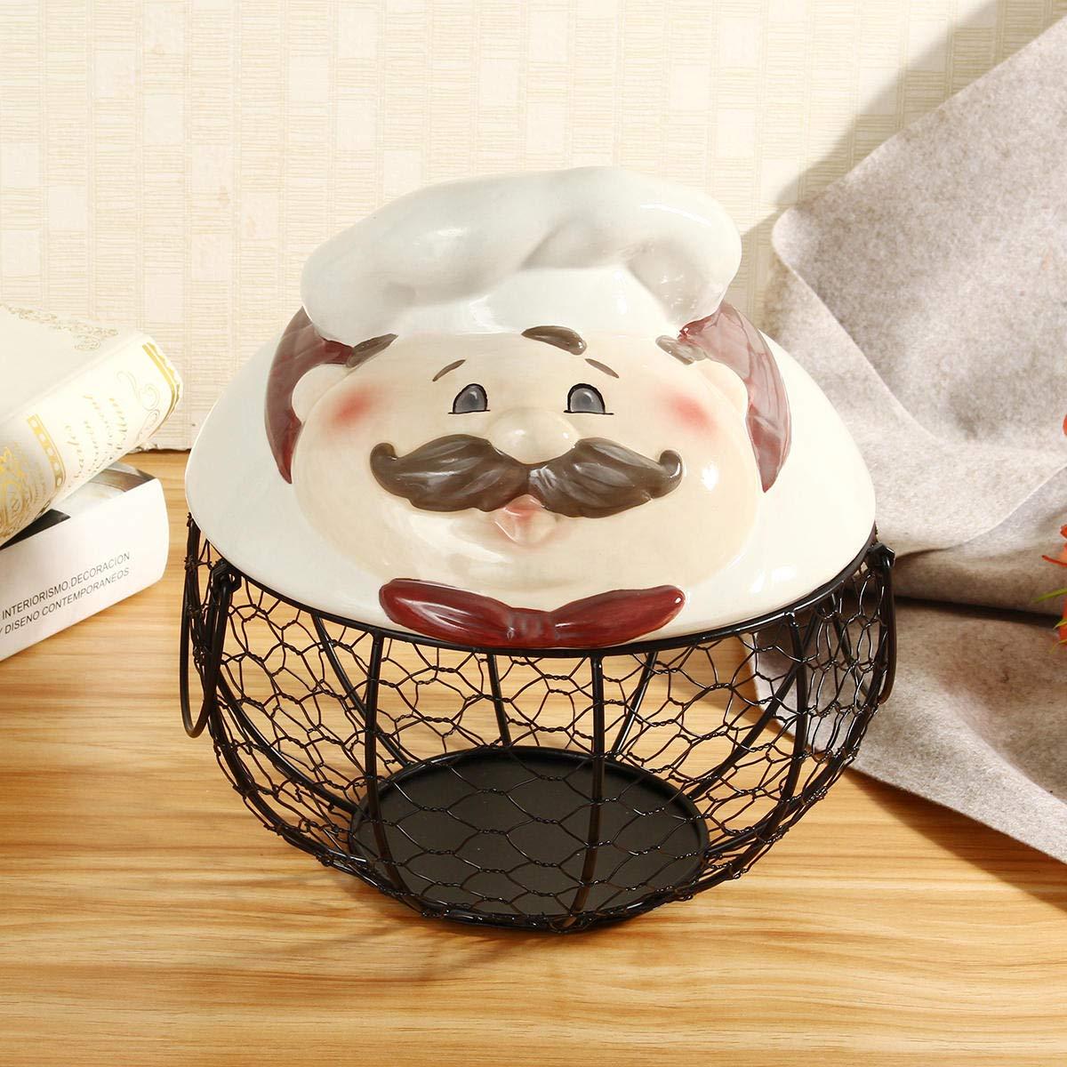 Rustic Farm Ceramic Lid Hen Egg Wire Storage Baskets Nest Kitchen Onion Fruit Holder - #1