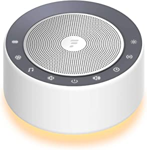Letsfit White Noise Machine with 7-Color Night Light, 30 High Fidelity Soothing Sounds, Full Touch Metal Grille and Buttons, Timer & Memory Feature, Portable Sleep Machine for Home, Nursery, Office