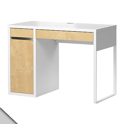 Ikea Micke Desk White Birch Effect W/ Shelf Inside
