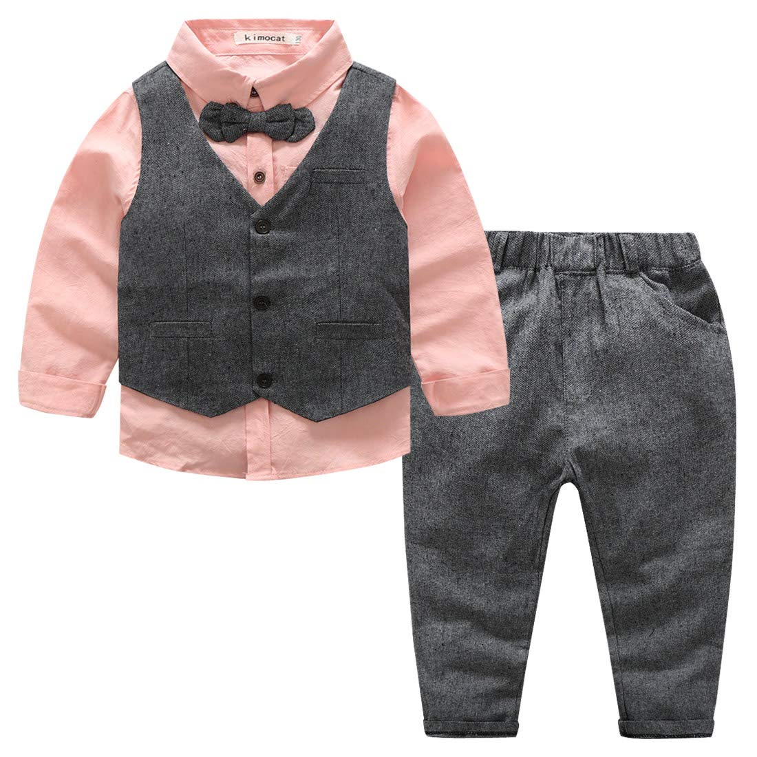 Little Boys 3pcs Formal Clothing Set Cotton Breathable Wedding Outfits Classic Gentle Tuxedo Suit, 4T
