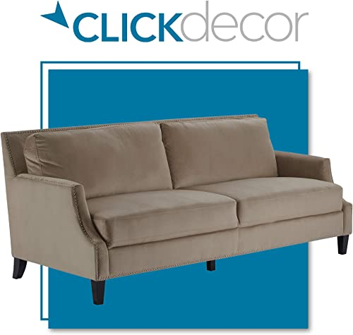 ClickDecor Parker Plush Fabric Upholstered Wingback Sofa with Nail-Head Trim, Curved Arm Living Room Couch for Small Spaces, 85 , Soft Taupe