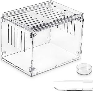 Kensiko Breeding Box Tank with Accessories, 8x6x4 Inch Display Tarantula Sling, Corn Snake and Other Acrylic Transparent Reptile Feeding Box