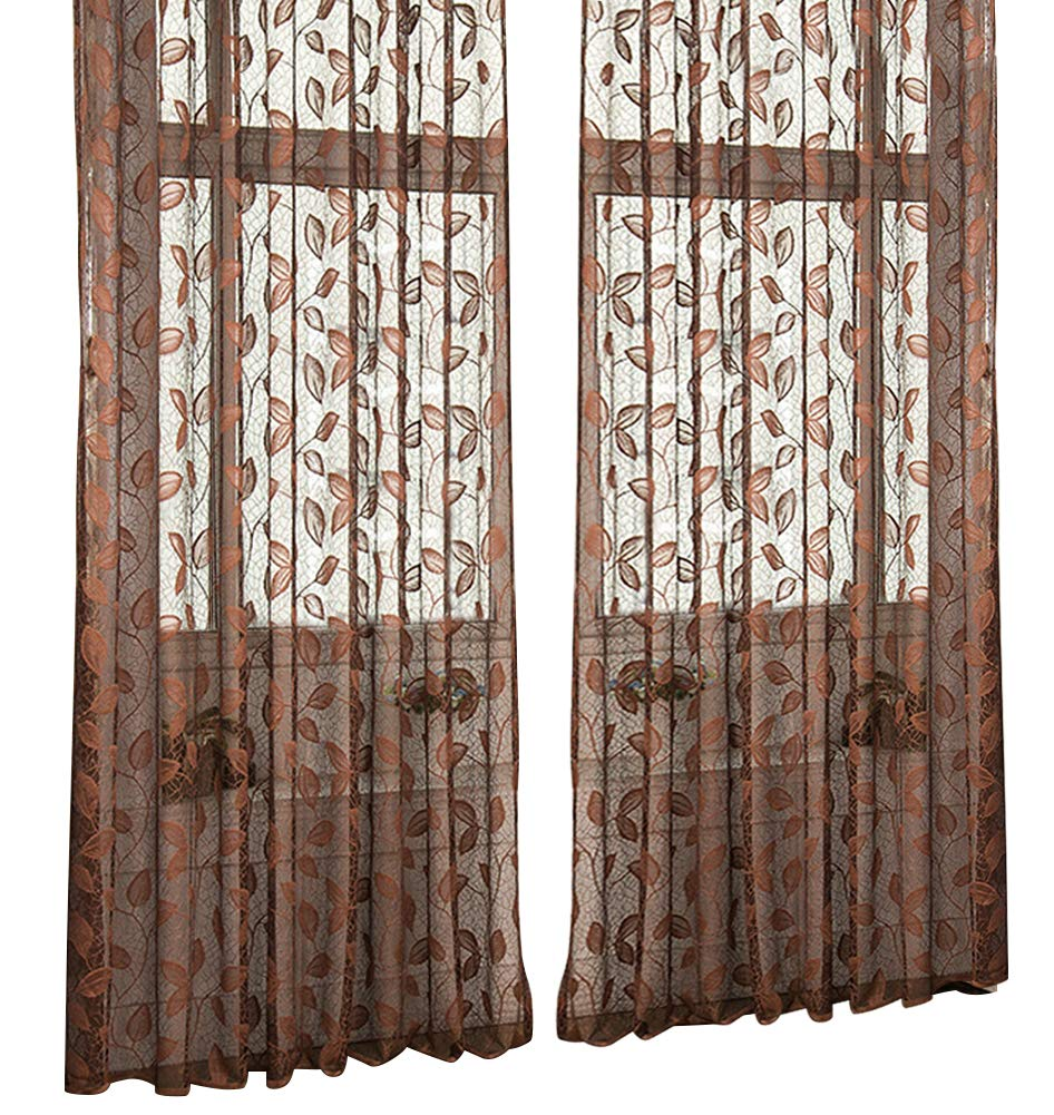 ASide BSide Floral Pattern Wrap Knitting Jacquard Sheer Curtains Rod Pockets Semi Transparent Panels Treatments for Living Room Dining Room and Kids Room (1 Panel, W50 x L95 inch, Deep Coffee)