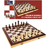 FUN+1 TOYS! Classic Wooden Chess Set - Wooden Chess Board and Staunton Style Wood Pieces - Board Game Set for Adults and…