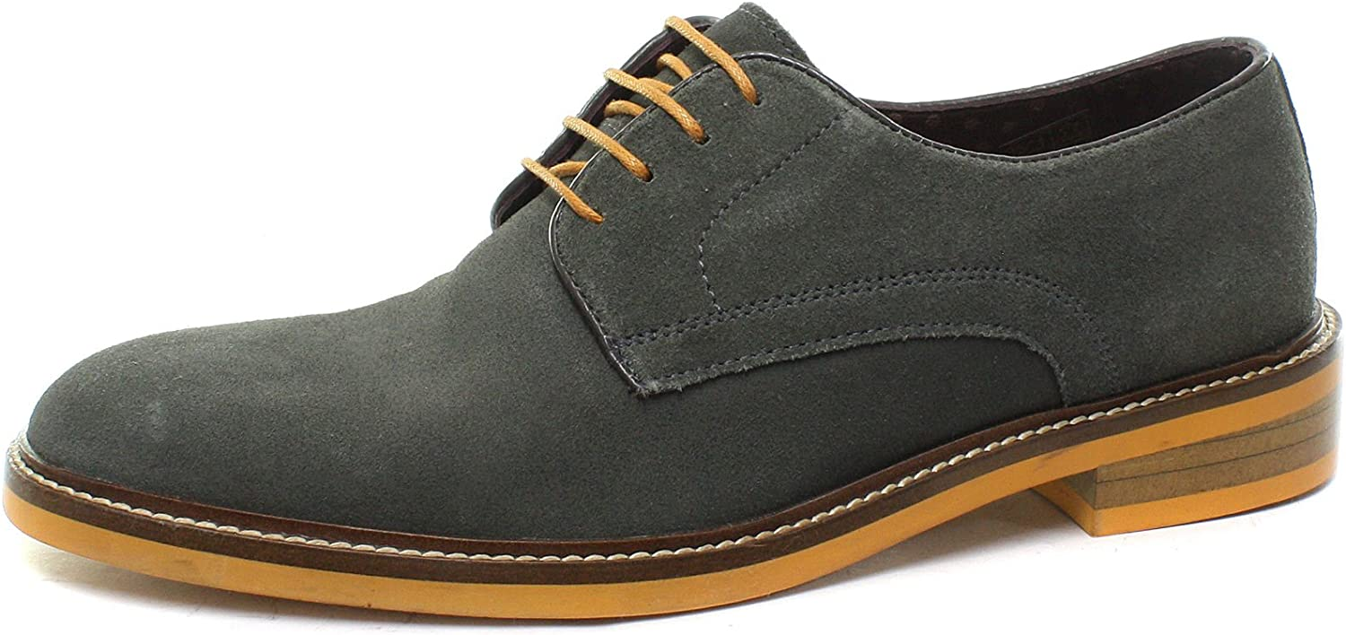Men/'s Handmade Tan Blue Suede Full Upper Derby Oxford Formal Brogue Lace-Up Shoes