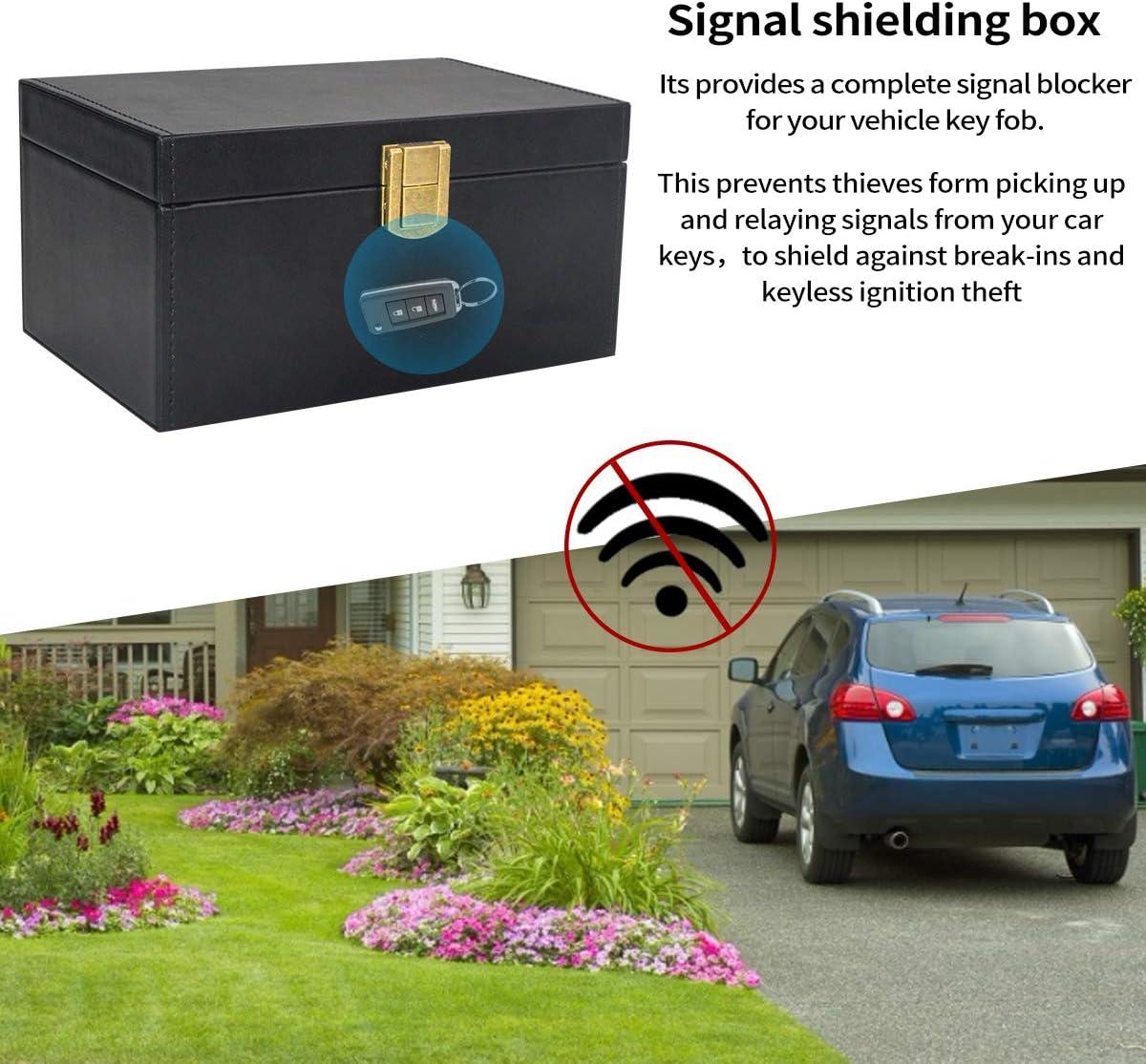 gro/ße Autoschl/üssel-Signalblocker-Box Schl/üssellose Tasche Qcore Faraday Box f/ür Autoschl/üssel Faraday-K/äfig Anti-Diebstahl-Leder RFID-Kfz-Schl/üsselanh/änger-Handy-Kartenbox