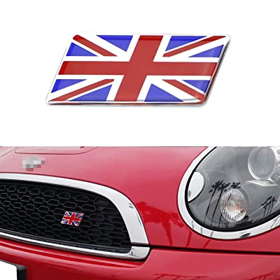 iJDMTOY Red/Blue Union Jack Flag Emblem Badge with L Shaped Mounting Bracket Fit Car Front Grille Compatible With Britain Vehicles such as MINI, Jaguar, Land Rover, etc: Automotive