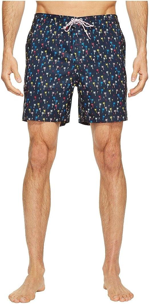 Original Penguin Mens Printed Fixed Waist Volley Swim Short