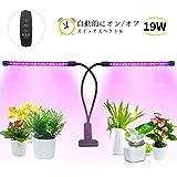 植物育成ライト 最新型19W 38個LED電球 タイミング機能付き 自動的にオン/オフ 360度調節可能 10段階調光モード 3つ照明モード クリップ式 水槽照明 観葉植物 園芸に適用 室内栽培ランプ 育苗機 LOBKIN(1年保証付き)