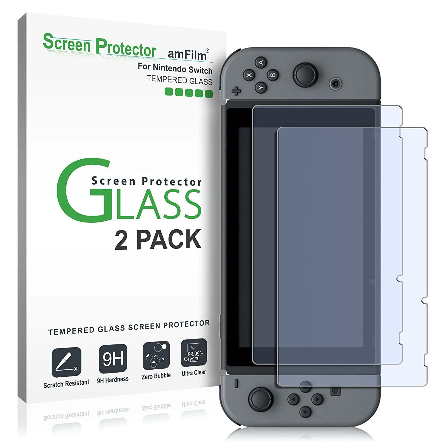amazoncom amfilm tempered glass screen protector for nintendo switch 2pack electronics