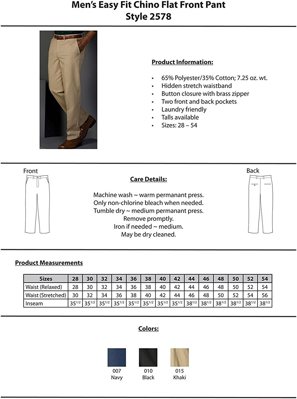 Khaki 38X32 Edwards Garment 2578 Mens Easy Fit Chino Pant