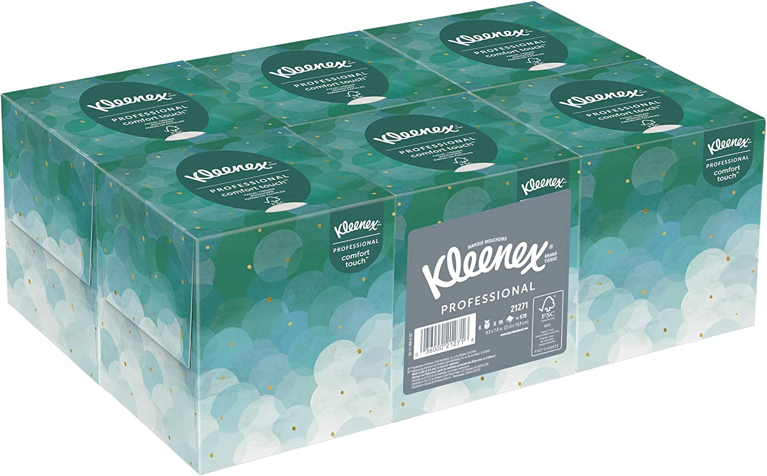 Kleenex Professional Facial Tissue Cube for Business (21271), Upright Face Tissue Box, 6 Boxes of 95 sheets (Pack of 570)