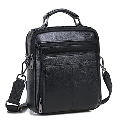 d34208e64c0 Langzu Handmade Mens Leather Messenger Shoulder Bag Ipad Bag Handbag (black)