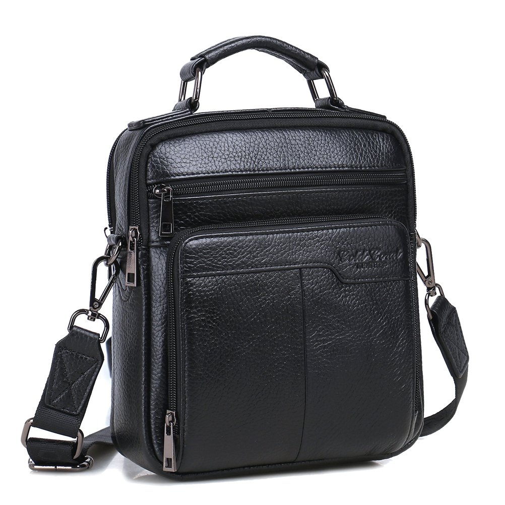 Langzu Handmade Mens Leather Messenger Shoulder Bag Ipad Bag Handbag (black)