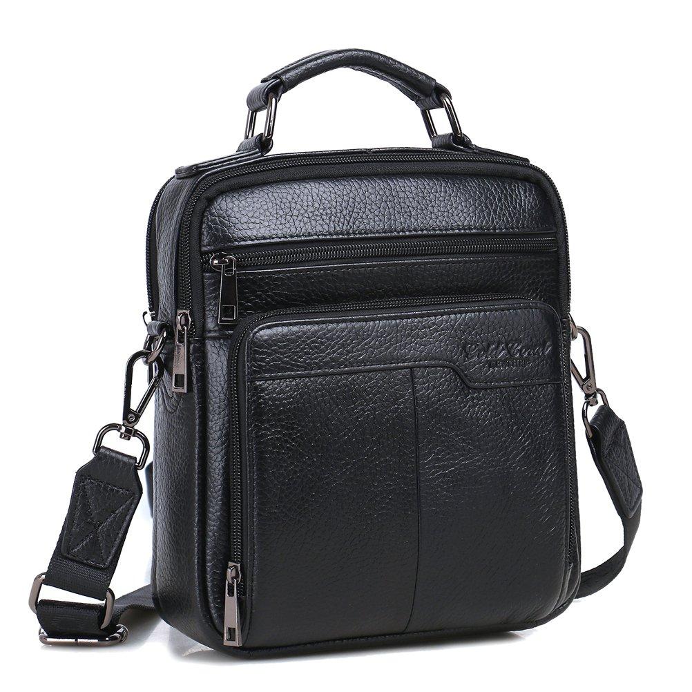 Langzu Handmade Mens Leather Messenger Shoulder Bag Ipad Bag Handbag (black)