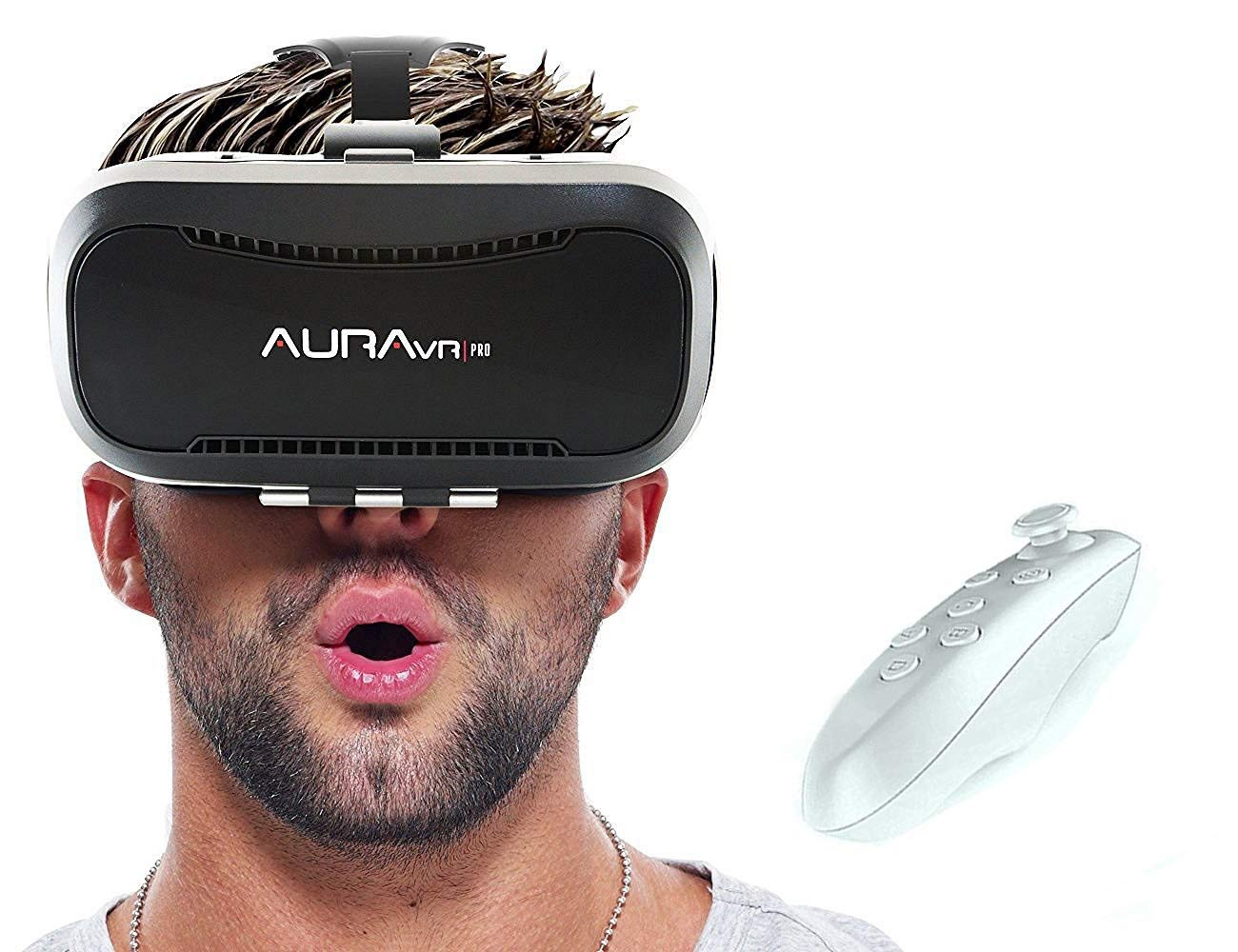 AuraVR Pro VR Box Headset with Remote Controller, 42 mm Fully Adjustable 3D  VR Glasses