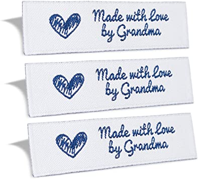 IRON ON NAME PATCH BLUE ON WHITE GRANDMA  NEW EMBROIDERED  SEW