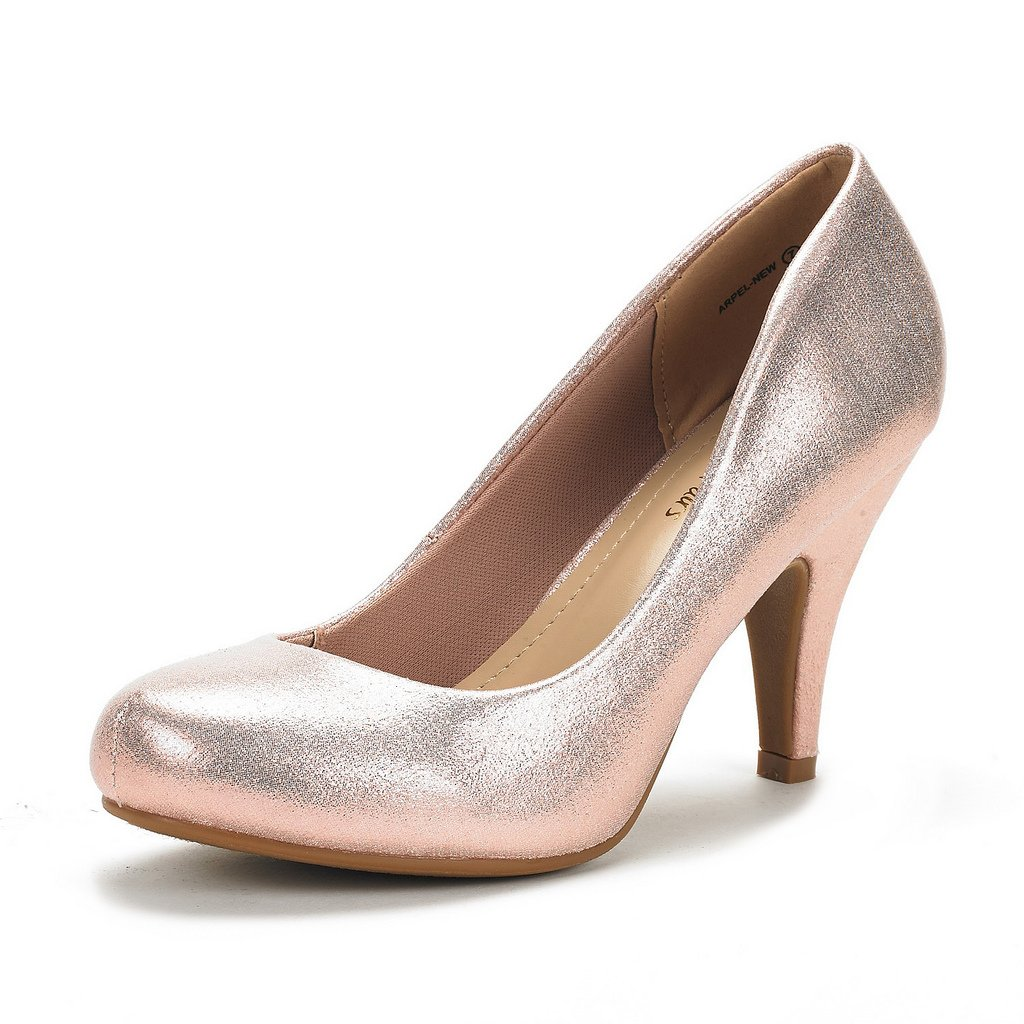 DREAM PAIRS ARPEL Women's Formal Evening Dance Classic Low Heel Pumps Shoes New Champagne Size 7