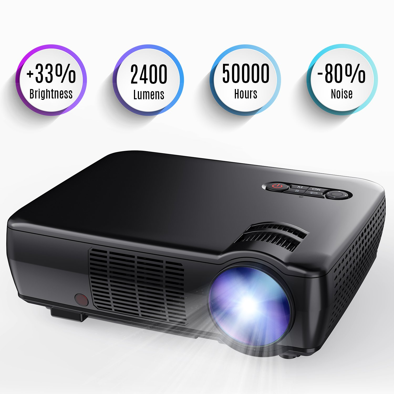 TENKER プロジェクター、アップグレード+ 33%Lus ポータブル ビデオ プロジェクターミニ ホームシアター5.0