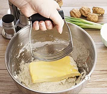 Mezclador de crema de harina, batidora de masa profesional de acero inoxidable, batidora de masa y cortador de pastelería de acero inoxidable: Amazon.es: ...