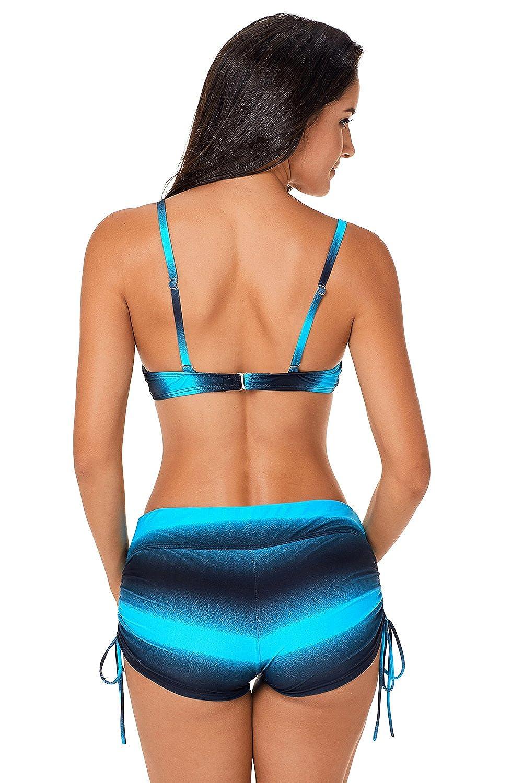 Aleumdr Damen Streifen Farbe Blocked Bikini Sets Badeanzug mit Boyshorts S-XXL