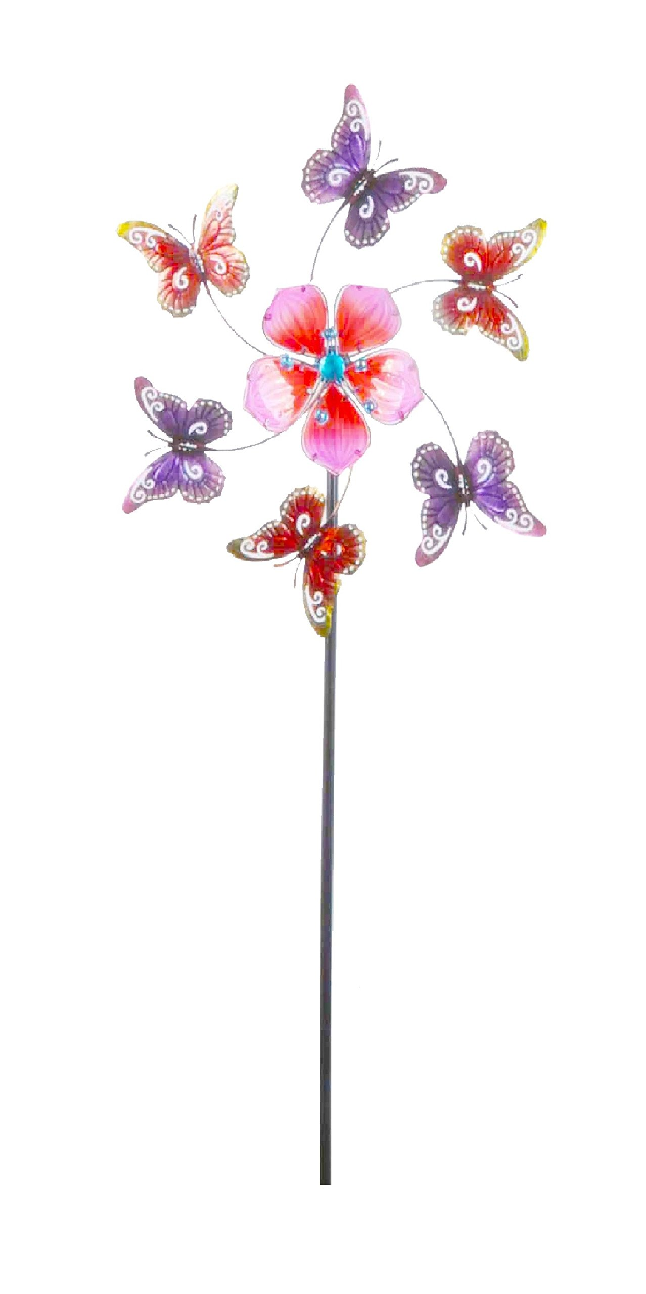 Continental Art Center 24''x24''x64'' Pink flower and butterfly kinetic stake