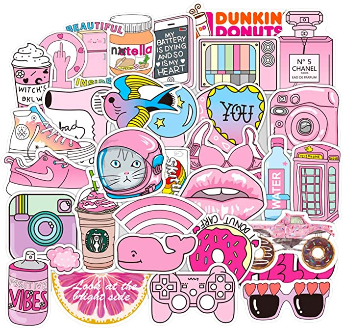 Girl Cute Cartoon VSCO Laptop Stickers Car Skateboard Motorcycle Bicycle Luggage Guitar Bike Decal 50pcs Pack (D)