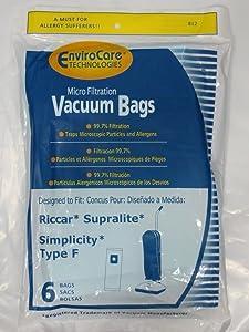Envirocare Brand Vacuum Bags Simplicity Type F / Riccar Supralite (2 x 6 Packs)