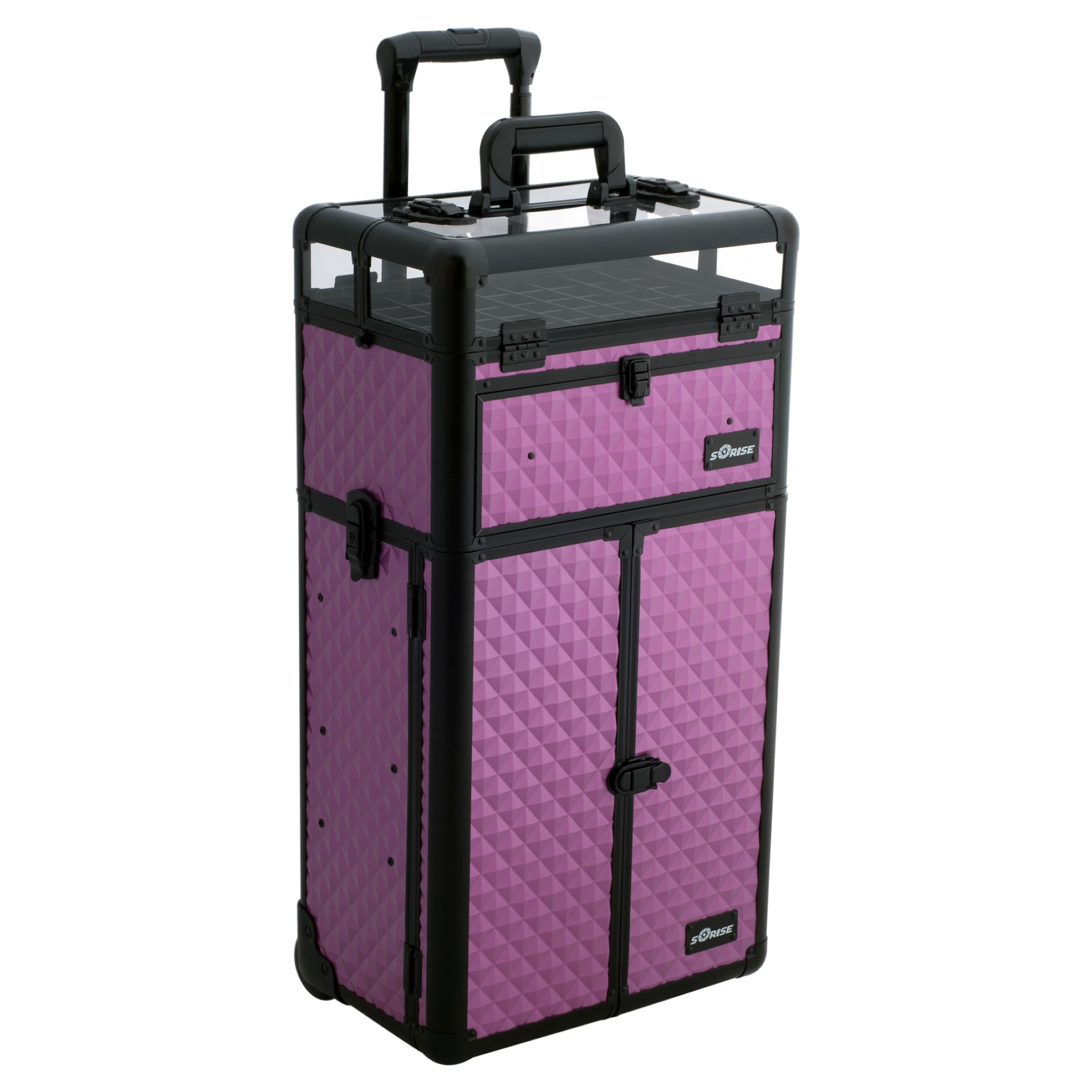 Sunrise Nail Case Polish Organizer on Wheels 2 in 1 I31066, 54 Bottle Capacity, French Doors, 2 Large Drawers, Locking with Mirror, Purple Diamond by SunRise