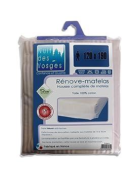 Nuit des Vosges 2064650 Rubens Funda de colchón (funda completa) Algodón crudo con rayas beis 190 x 120 x 18 cm: Amazon.es: Hogar