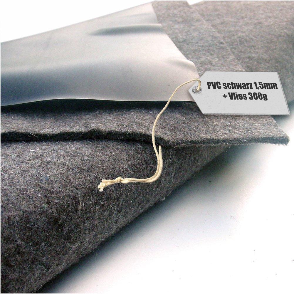 Lona de estanque PVC 1,5mm negro en 16x16m con fieltro 300 g/m²