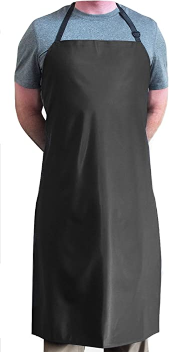 "Tuff Apron Black Heavy Duty Waterproof with Neck Adjuster Durable Long Kitchen Dishwashing Bib 41"" x 27"" PVC Vinyl"