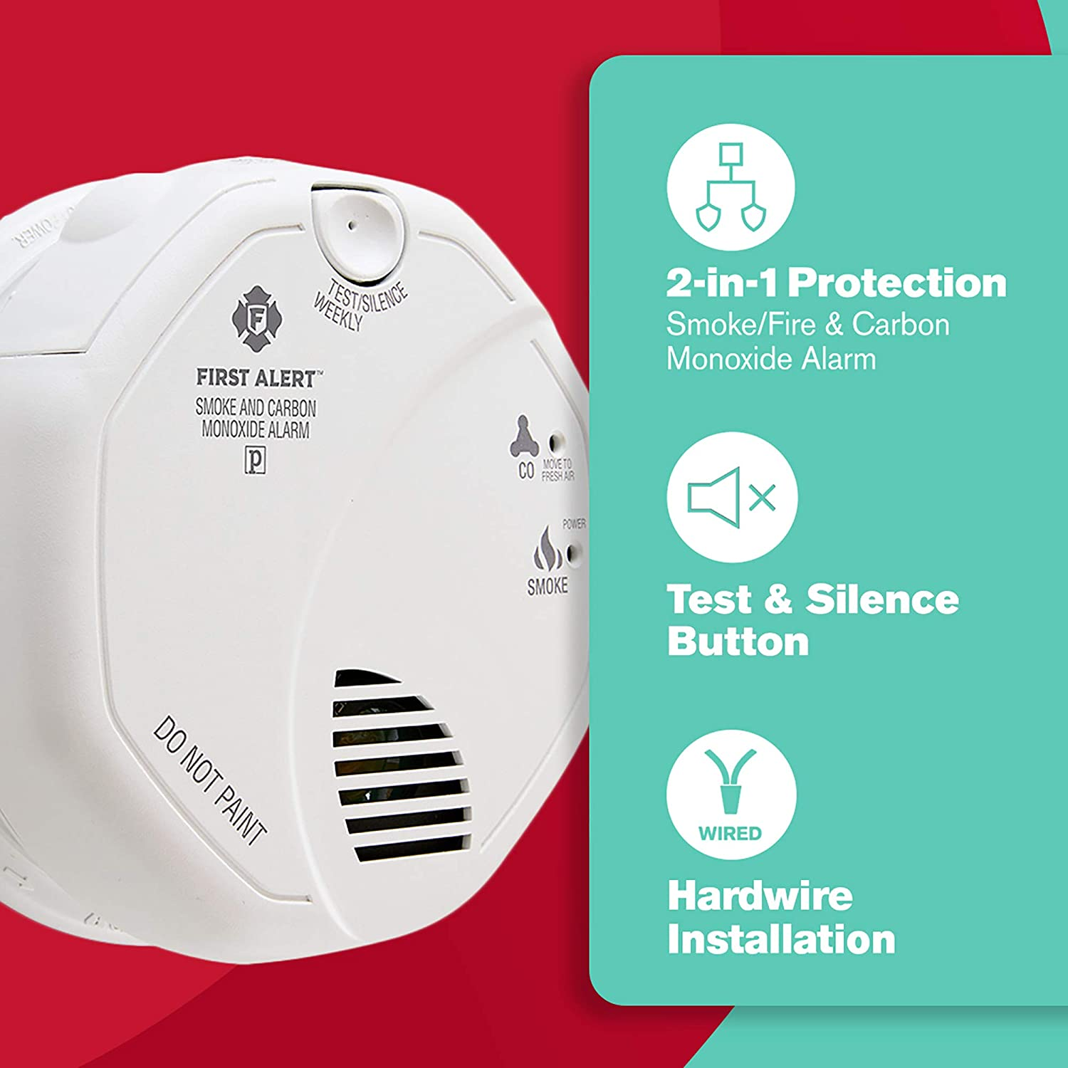 First Alert Brk Sc7010b Hardwire Combination Smoke And How To Wire Receptacle Controlled By Switch Hard Wiring Carbon Monoxide Alarm With Battery Backup Home Improvement