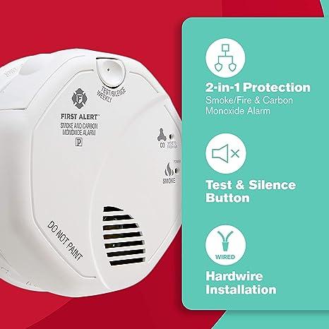 First Alert sc7010b Hardwire fotoeléctrico de Humo y monóxido de Carbono Alarma con Respaldo de batería: Amazon.es: Bricolaje y herramientas