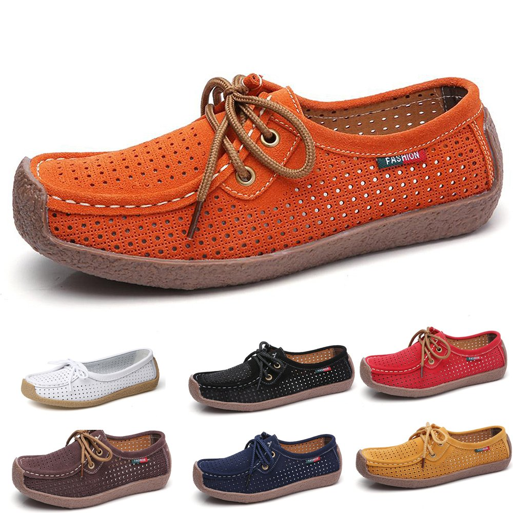 Mocassins Femmes Mocassins Confortable Cuir Loafers Casual Slip on Casual Chaussures Slip Flats de Conduite Orange 5468c69 - avtodorozhniks.space