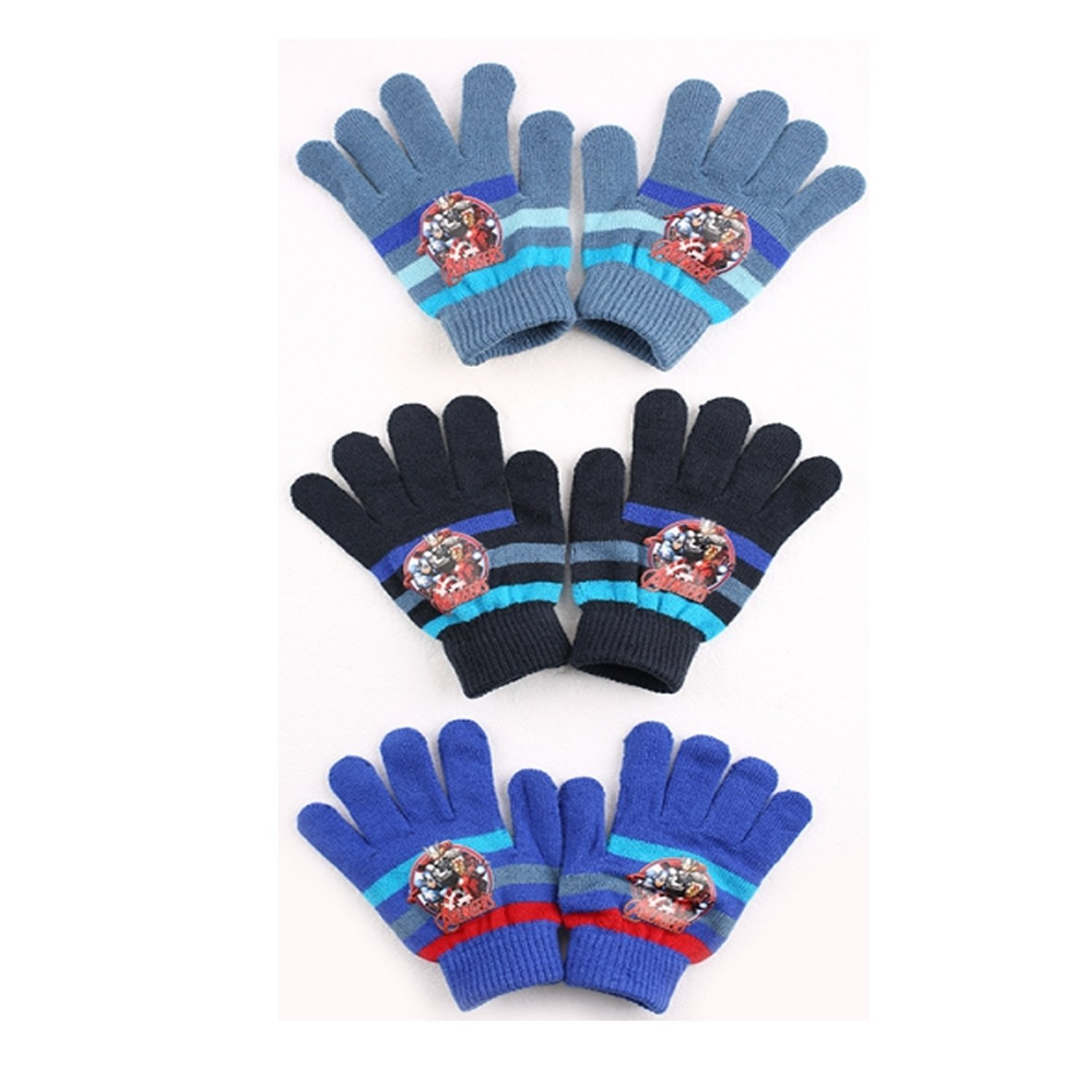 Character Marvel 'Avengers' Knitted 3 Assorted Gloves One Size Kids Accessories