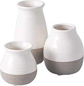 Sullivans Small Ceramic Vase Set, Rustic Home Decor, Great for Centerpieces, Kitchen, Office or Living Room, White and Gray (DOT204)