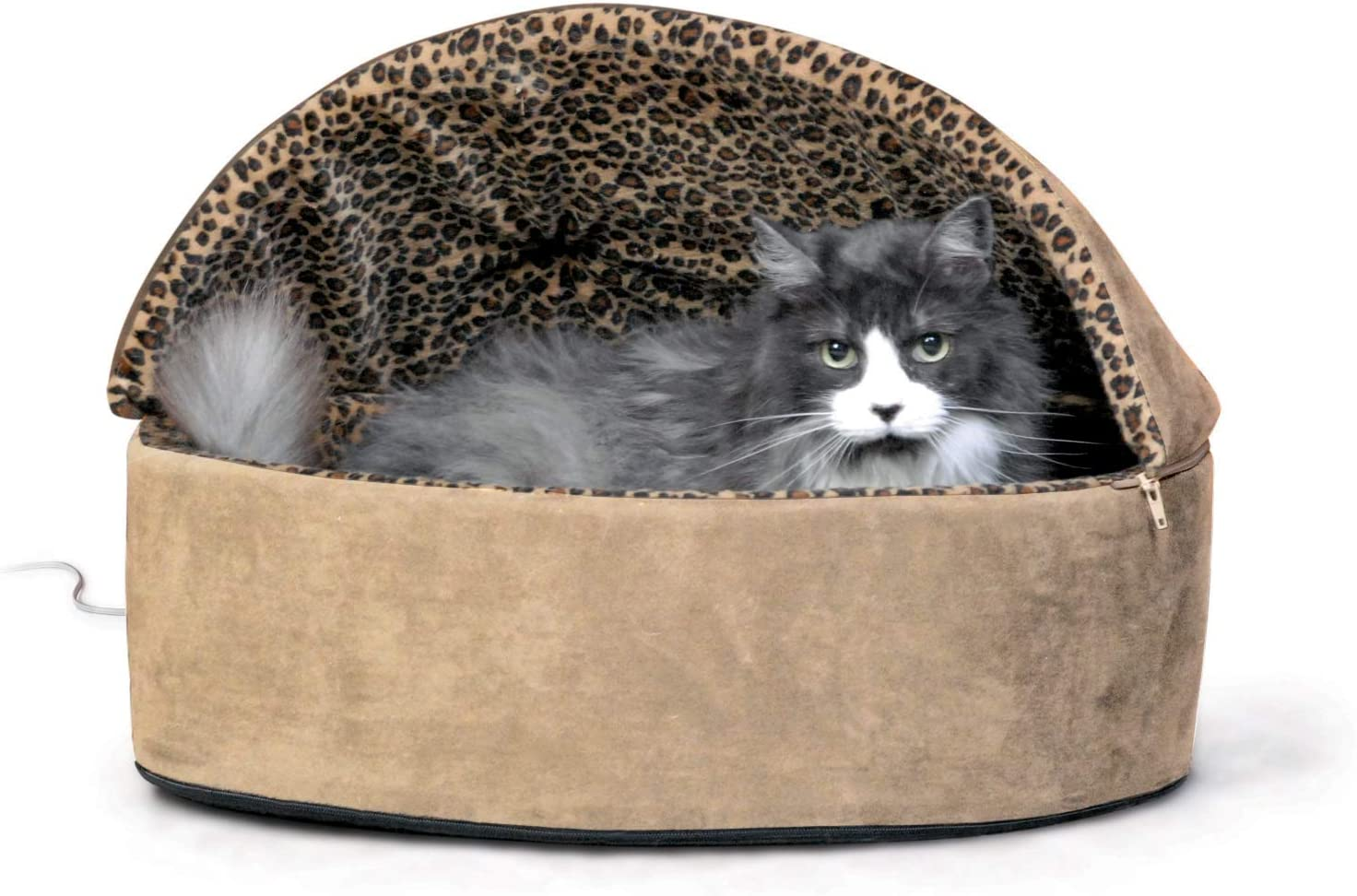 K&H PET PRODUCTS Thermo-Kitty Heated Deluxe Hooded Cat Bed, Washable Removable Cover, Multiple Sizes, Multiple Colors