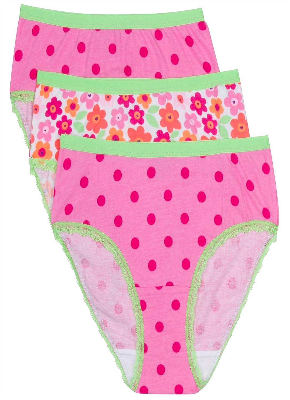 3 Pack Jockey Girls Underwear Girls Hipster Pink Floral//Pink Dot XL