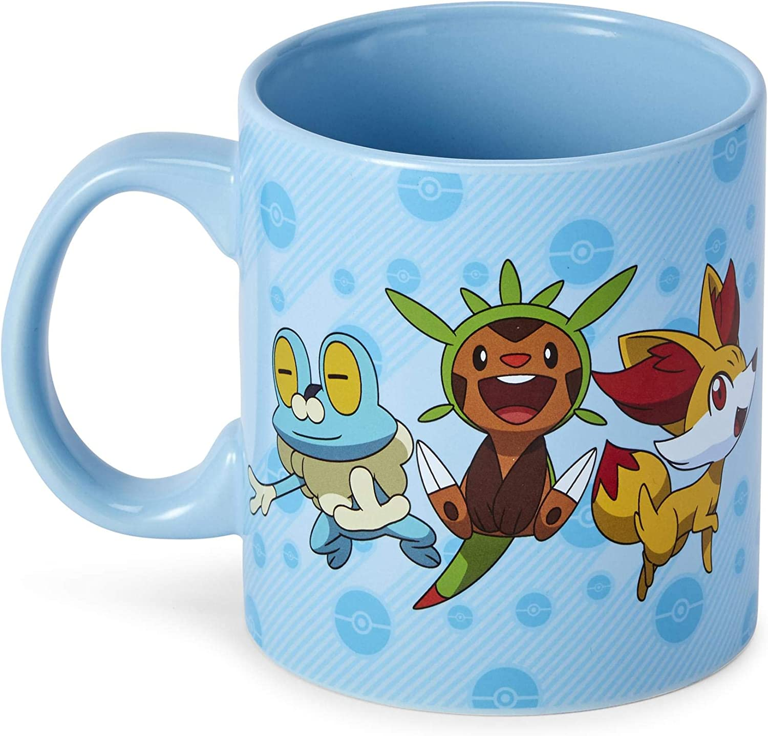 Official Pokemon XY Group Starters Mug - 20-Ounce Blue Ceramic Cup for Hot Coffee, Tea, Cocoa - Novelty Drinking Container - Perfect for Home, Office, Parties - Licensed Nintendo Merchandise