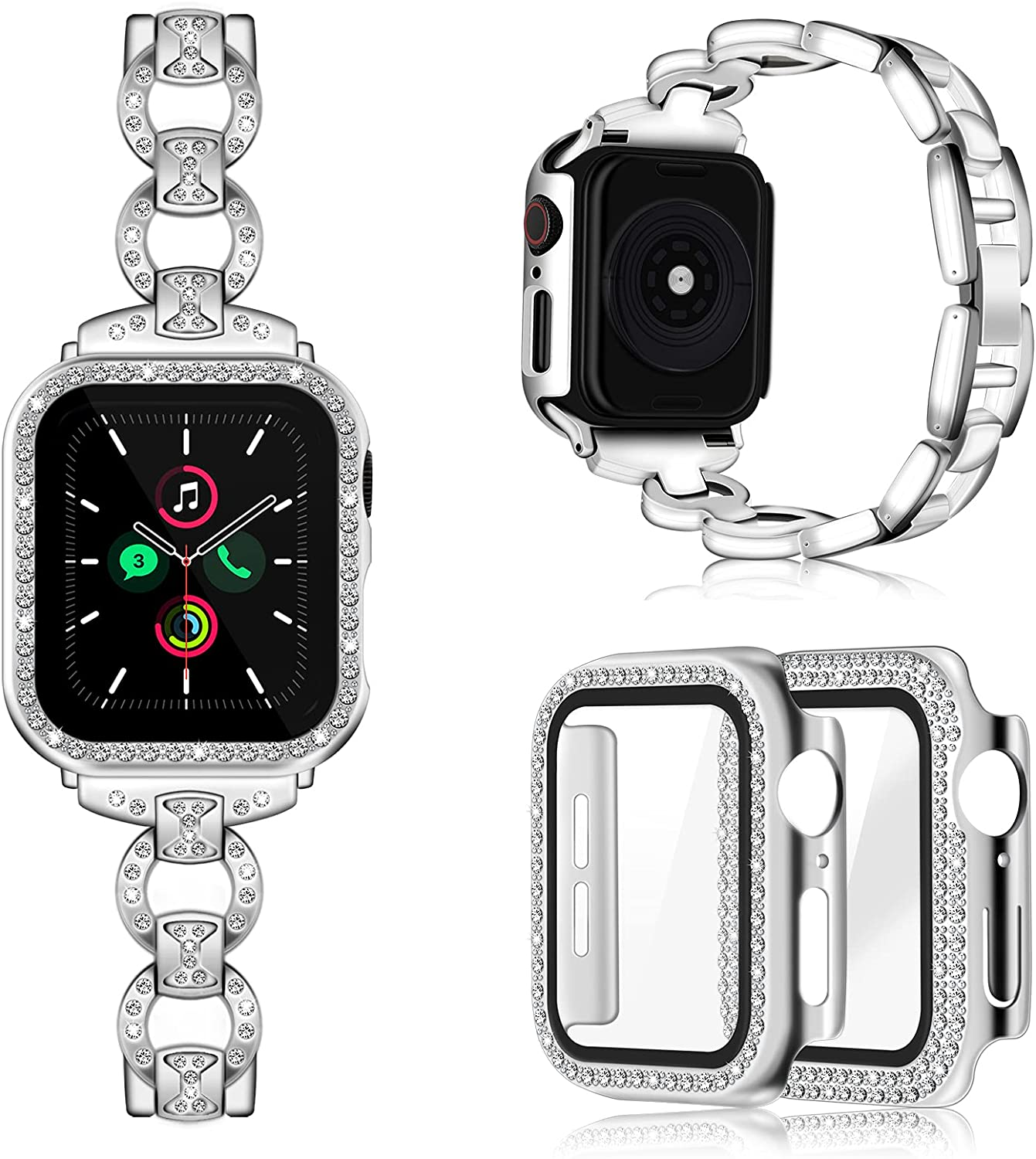 Invoibler Compatible with Apple Watch Band 40mm with Rhinestone Protective Cover, Women Girls Jewelry Replacement Metal Wristband Strap with 2PCS Bling Diamond PC Protective Case for iWatch Series 6/5/4 (Silver)