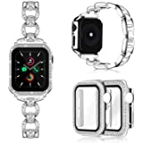 Invoibler Compatible with Apple Watch Band 40mm with Rhinestone Protective Cover, Women Girls Jewelry Replacement Metal Wrist