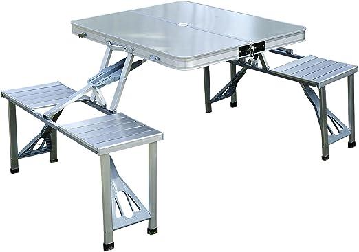 Outsunny Mesa Plegable 4 Asientos Aluminio con Agujero para ...