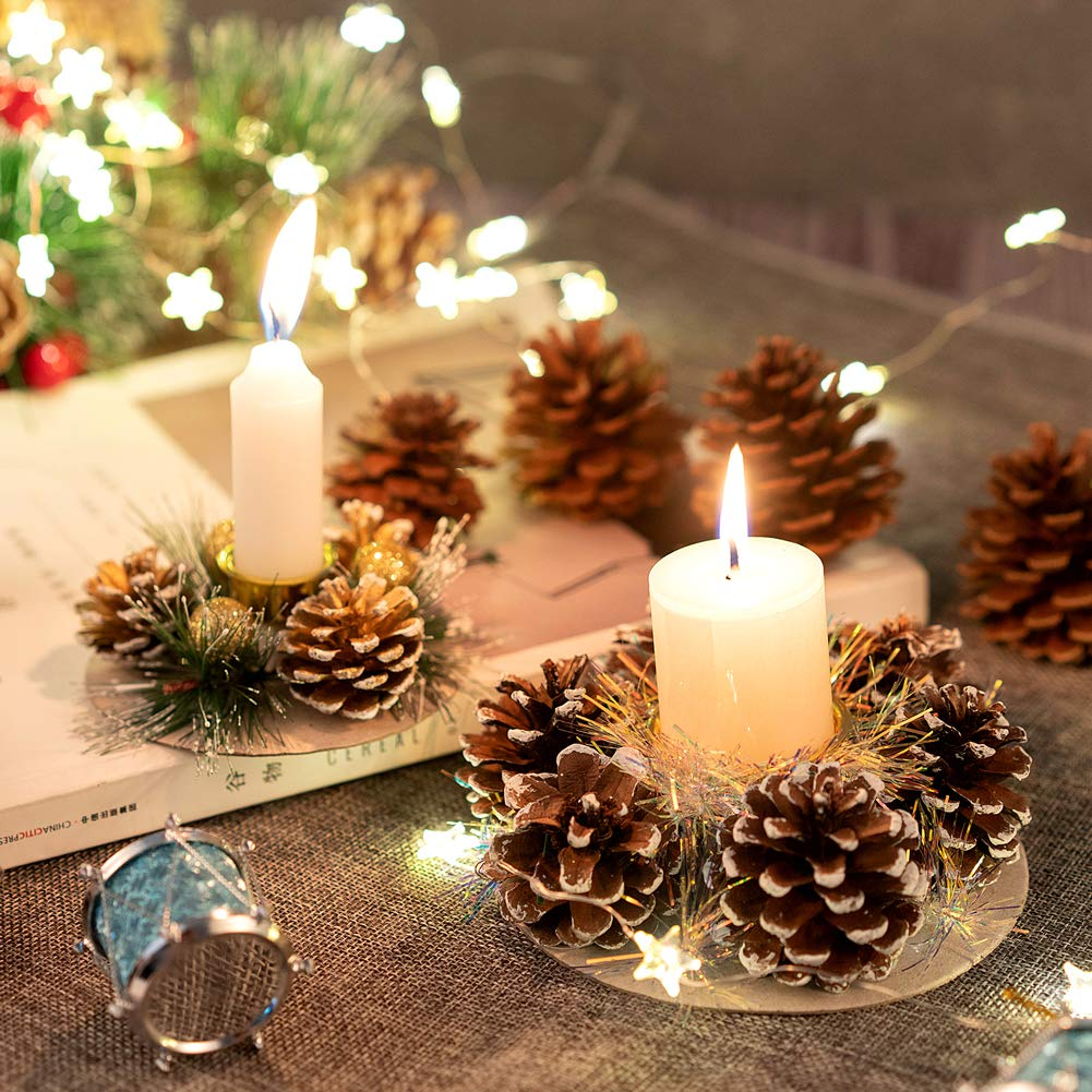 Christmas Table Decoration set of 4  Candle Holders with Natural pine cones and metal candle tray.