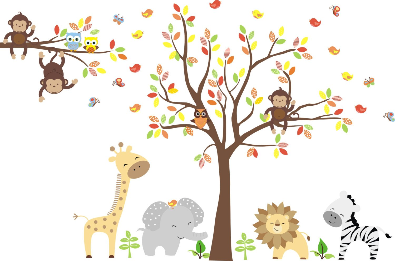 Zoo Animal Wall Mural - Zoo Animals Wall Stickers - Large Animal Nursery Decals