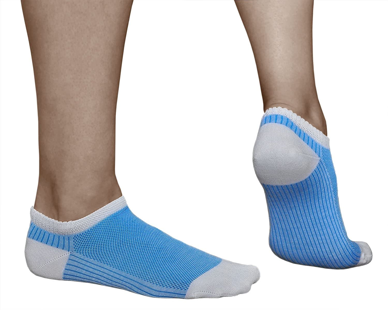 PACK x3: Rojo Gris Azul ALGOD/ÓN MERCERIZADO vitsocks Calcetines Verano Mujer Cortos Muy Transpirables Sneaker