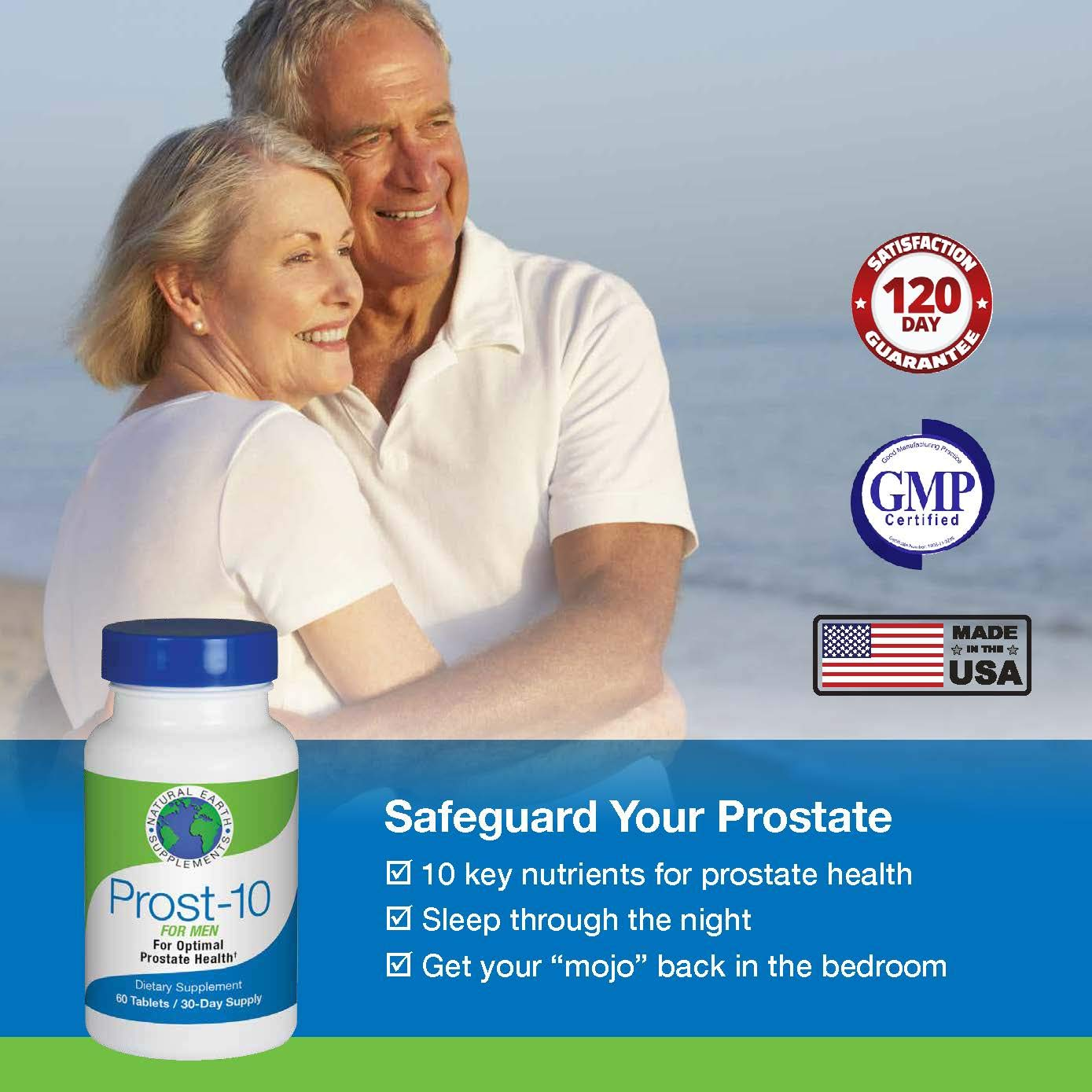 Natural Earth Supplements Prost-10 Prostate Supplement. Reduces Bathroom Trips and Promotes Sleep. Supports Prostate and Urinary Health and Better Bladder Emptying. 180 Day Supply
