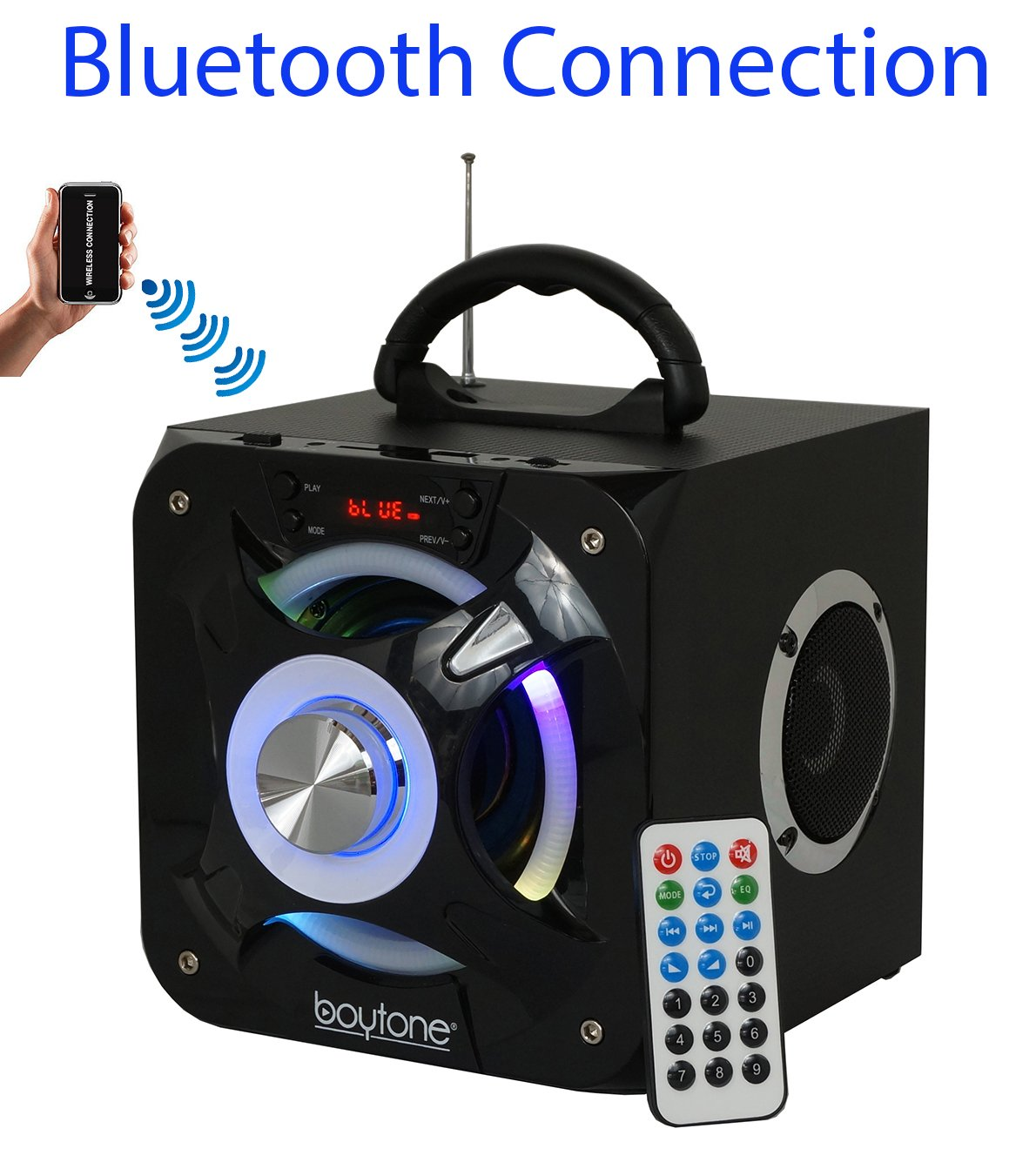 Boytone BT-32D ポータブル Bluetooth FMラジオ ステレオスピーカーシステム USBポート|SDカードスロット|MP3|AUXポート内蔵充電式バッテリー|フラッシュDJライト|リモートコントロール   B076VCYNZR